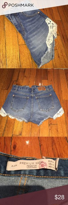 Zara shorts Zara Jean high waisted shorts with lace detail. Zara Shorts