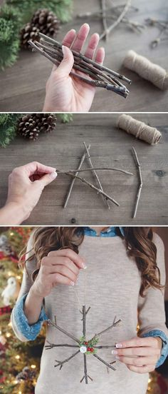Rustic Twig Christmas Ornaments. Click on image to see more home decor DIY crafts.
