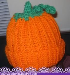 Pumpkin Hat Crochet Pattern for Adults - from Nothing's Creative Anymore (did have to add many rows to make it fit, even with an I hook)