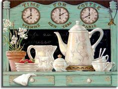 Time for Coffee displays another detailed antique coffee set. In this oil painting we see the coffee set already used with half eaten strawberries and a cute potted plant. Above the chalk menu are clocks for Vienna, New York, and Paris. This is part of Janet's Kruskamp's newer original paintings, and hand signed.
