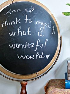 Geography doesn't have to be limited to back to school classrooms! This Chalkboard Globe DIY project is the perfect decor piece for a home office or library. Thanks @DIYShowOff!