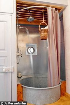 galvanized bathroom - perhaps a good outdoor shower idea...