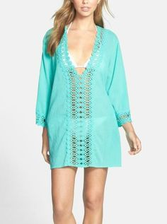 Pretty! Adore this teal crochet cover-up.