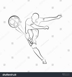 football (soccer) player kicking with ball line drawings on white background. Soccer Poses, Football Poses, Football Soccer, Soccer Flags, Football Player Drawing, Soccer Drawing, Soccer Players, Soccer Tattoos, Football Tattoo