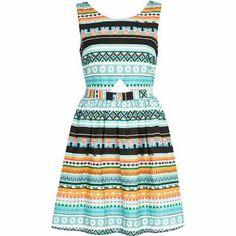 Blue aztec print cut out skater dress