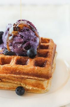 {Brown Butter Waffles with No-Churn Blueberry Ice Cream} WHAT?! I am making these on Sunday. no doubt!