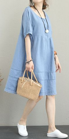 Loose Simple Linen Dresses Women Casual Outfit Cute Summer Outfits You Should Already Own – Wass Sell Simple Dress Casual, Simple Dresses, Casual Dresses For Women, Casual Outfits, Cute Outfits, Smart Casual, Casual Shoes, Linen Dresses, Women's Dresses