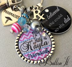 Pharmacist gift, Graduation gift, PERSONALIZED key chain, she believed she could so she did, CUSTOM gift, INSPIRATIONAL quote, coworker gift by buttonit on Etsy