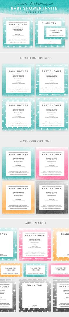 Teal Ombre Watercolour Baby Shower Invite by Wednesday Designs on @creativemarket