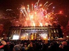 Allez! Spectators were treated to a spectacular fireworks display in Leeds Tour De France 2014