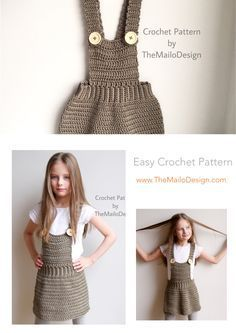 Crochet Skirt Pattern - Back To School Overall Skirt Crochet Shorts Pattern, Crochet Jumper, Black Crochet Dress, Sweater Knitting Patterns, Easy Crochet Patterns, Knit Crochet, Crochet Toddler, Baby Girl Crochet, Crochet Baby Clothes