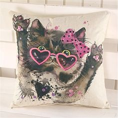18 Lovely Animal Linen Cotton Cushion Cover Waist Throw Pillowcase Home Sofa Decor Lovely Cat * Want to know more, click on the image. Note: It's an affiliate link to Amazon