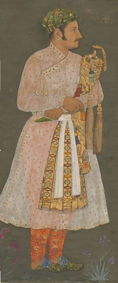 ca. 1610-15. Inayat Khan, favored courtier to Mughal Emperor Jahangir, carrying the royal sword in lavish tapestries. By Daulat. India.