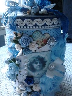 Lace & Pearls Handmade Creations* Altered tin box ♥ like the shade of blue