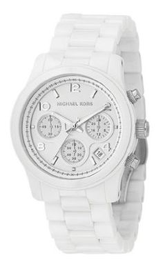 White Ceramic Bracelet With Push Button Clasp White Chronograph Dial With Silver Tone Numerals and Stick Indices Chronograph With Three Sub-Dials, Logo and Date Window 3 hand Quartz movement Water res