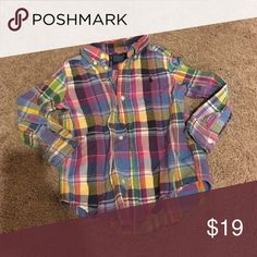 Ralph Lauren button down 3T Ralph Lauren button down shirt - I always paired it with the yellow pants listed. My son was super stylish and trendy with tons of compliments on his outfits Ralph Lauren Shirts & Tops Button Down Shirts