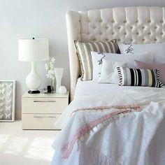 cozy, romantic but elegant! I love tufted headboards! My DREAM headboard!!