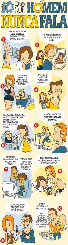 10 coisas que um homem nunca fala! Eitaaaaa huahuauha #humor #quadrinhos