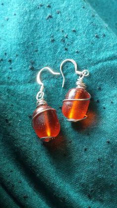 Sea Glass Nugget Bead Wire Wrap Orange Dangle Earrings /  Spiral