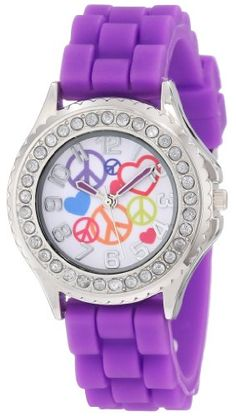 Frenzy Kids' FR792 Purple Rubber Band Peace Watch  for more details visit :http://watch.megaluxmart.com/