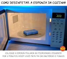 Elimine 99% dos germes e bactérias da esponja de cozinha no microondas!