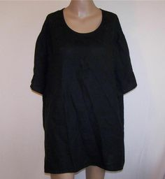 FLAX Womens Sz 3G 3X Shirt Top Linen Generous Black Short Sleeves Pull Over