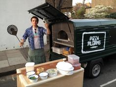 Brilliant new 'mobile pizza oven'-  in the form of a green Piaggio Ape. They are on Berwick Street, Soho for lunch every day. Best pizzas. Ever.