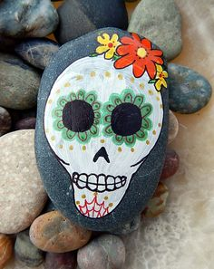 Sugar Skull Day of the Dead Hand Painted by PaintMyselfPretty
