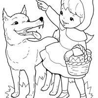Desenho De Chapeuzinho Vermelho Falando Com O Lobo Para Colorir