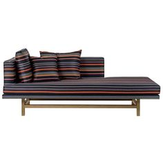 Aragon Chaise Longue with White Oak Legs and Striped Wool   From a unique collection of antique and modern chaise longues at https://www.1stdibs.com/furniture/seating/chaise-longues/