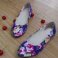 Estampado de flores de la Mujer Zapatos de las mujeres Bailarinas Holgazanes de Las Señoras de Gran Tamaño 42 Mujeres Zapatos de Las Mujeres Ballet Pisos Zapatos Mujer WSH2223