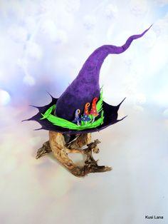 Fantasy felted hat for witch, wizard, warclock, druid, elf. Elf Cosplay, Elf Costume, Felt Witch Hat, Renaissance Fairy, Mushroom Hat, Fantasy Witch, Halloween Witch Hat, Magic Hat, Wet Felting