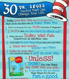 dr seuss quotes - Many people are unsatisfied with their current life situation, but these Dr. Seuss quotes will turn frowns upside down. This infographic entitled. Great Quotes, Quotes To Live By, Inspirational Quotes, Awesome Quotes, Say That Again, Meaningful Life, Smile Because, Always Remember, Book Quotes