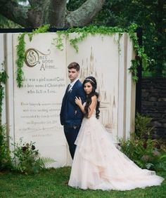 Fairytale wedding Ideas- Garden Wedding Ceremony with large Once Upon a Time book as the backdrop