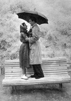 Sweet 1950's photo! Seattle+winter+ engagement photos may necessitate recreating this pose:)