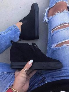 0131043a8b31 Fashion Letter Slip On Wedge Sneakers Faux Suede Wedge Heel Casual Sneakers  Casual Heels