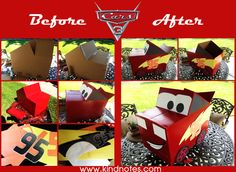 Make Lightning McQueen race car from a cardboard box! Love this DIY idea to use as a part of a photo backdrop - kids can sit inside it!