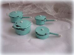 Dollhouse miniature Shabby Saucepans in Turquoise and white. €9.50, via Etsy.