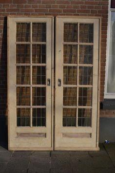 Mooie set ensuite schuifdeuren met glas in lood jaren 30 verfvrij