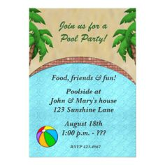 Summer Night Patio Party Invitation  Modern Retro Patio Umbrella