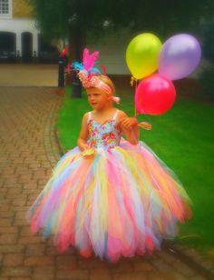 Rainbow Tutu Dress, Flower Girl, Cotton Candy Princess Tutu, Pageant Dress, Birthday Party Dress, Junior Bridesmaid, via Etsy