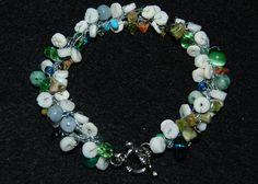 Crocheted bracelet beaded strands shells by silverwireandgems