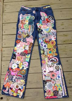 I love creating these kinds of jeans. these have taken me months to complete lots of hand work and machine work goes into these. also had to be on