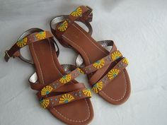 BODEN LEATHER Yellow & Blue Beaded STRAPPY SANDALS SZ 40 . US SZ 9  EUC! #BODEN #Strappy