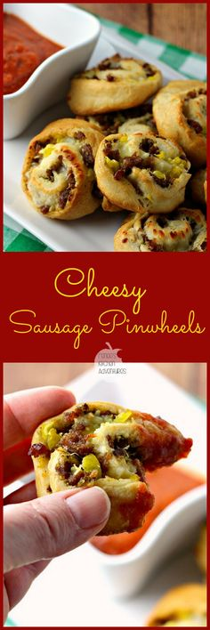Cheesy Sausage Pinwheels - Easy to make, crowd-pleasing party food! Yummy Appetizers, Appetizers For Party, Appetizer Recipes, Snack Recipes, Cooking Recipes, Tailgating Recipes, Appetizer Ideas, Party Recipes, Sausage Recipes