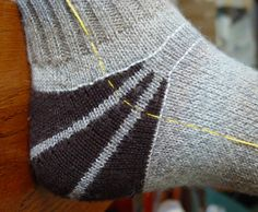 BungalowBarbara's very cool modification of Cat's Sweet Tomato Heel Socks by Cat Bordhi. Her project page for Jim's Tomato Wedge Heel socks is SUPER helpful! Crochet Socks, Knit Or Crochet, Knitting Socks, Knitting Stitches, Hand Knitting, Knitting Patterns, Knit Socks, Knitted Slippers, Knitting Machine