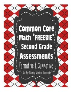 2nd Grade Common Core Standards Math Assessments Freebie {