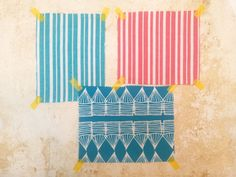 Palermo Stripe Pacific Blue, Palermo Stripe Geranium, Huts Turquoise