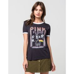 JUNKFOOD Pink Floyd Womens Ringer Tee (56 AUD) ❤ liked on Polyvore featuring tops, t-shirts, off black, graphic print tees, retro tees, short sleeve tops, graphic tops and graphic t shirts