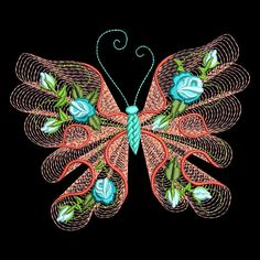 """FLUTTERBY LUV is 10 designs of gorgeous butterflies with tea roses, rosebuds, and greenery. FLUTTERBY LUV. XXX - SINGER. YOUR DESIGNS WILL BE DELAYED IF WE DON'T KNOW YOUR MACHINE EMBROIDERY FORMAT."""". 